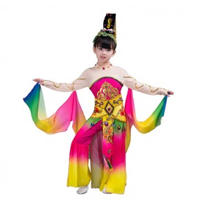 Rainbow colored ancient Chinese folk dance costumes waterfall sleeves for girls chang e moon fairy dancing classical traditional cosplay performance dresses